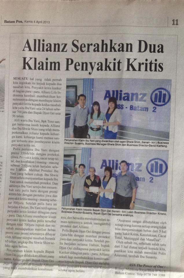 Allianz Serahkan Dua Klaim Penyakit Kritis