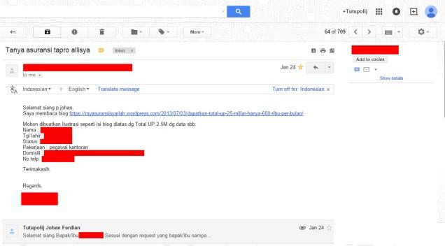 Email Permintaan Ilustrasi TAPRO Pertama Kali