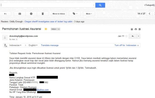 Email Request Pertama Kali